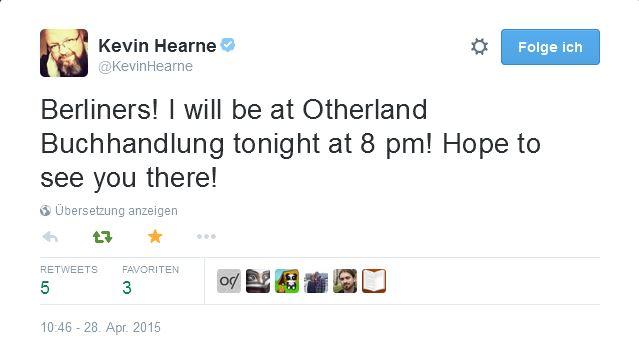 Kevin Hearne - Tweet Berlin 1