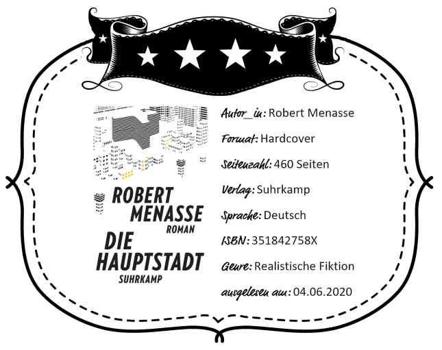 """Rezensionsheader zu """"Die Hauptstadt"""" von Robert Menasse"""